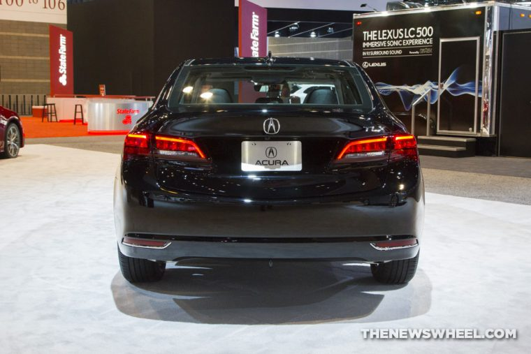 2017 Acura TLX black sedan car on display Chicago Auto Show