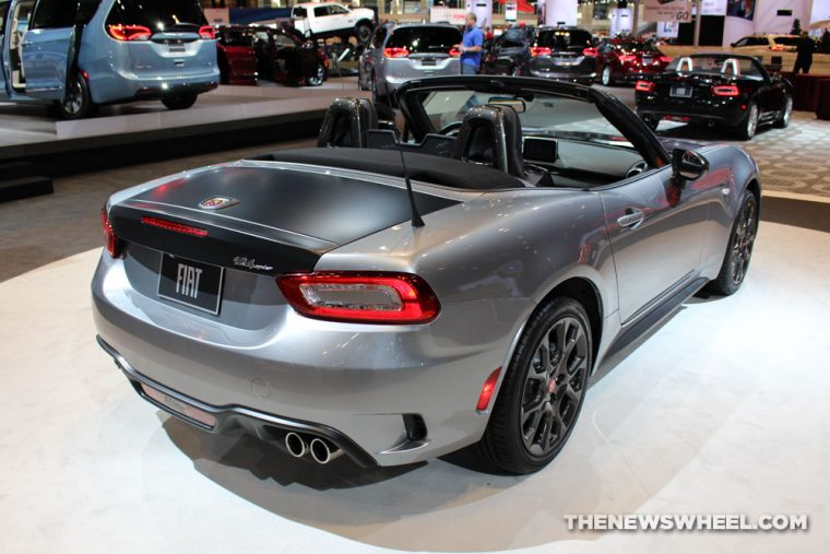 2017 Fiat 124 Spider Abarth gray convertible car on display Chicago Auto Show