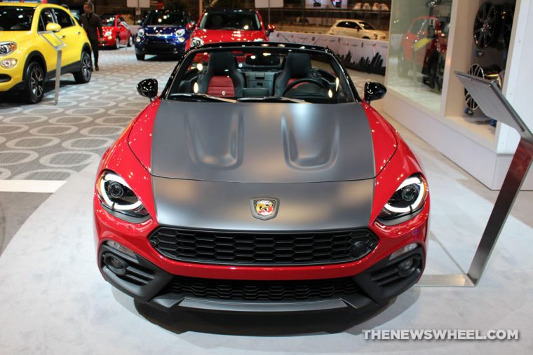 2017 Fiat 124 Spider Mopar red convertible car on display Chicago Auto Show