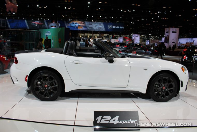 2017 Fiat 124 Spider white convertible car on display Chicago Auto Show