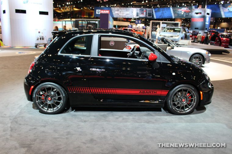 2017 Fiat 500 Abarth black sedan car on display Chicago Auto Show