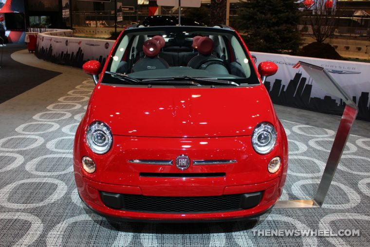 2017 Fiat 500 Cabrio red sedan car on display Chicago Auto Show