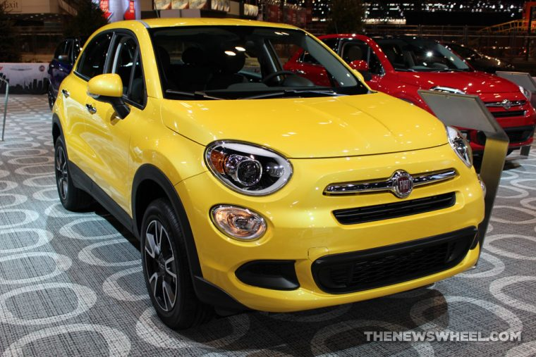 2017 Fiat 500X yellow sedan car on display Chicago Auto Show