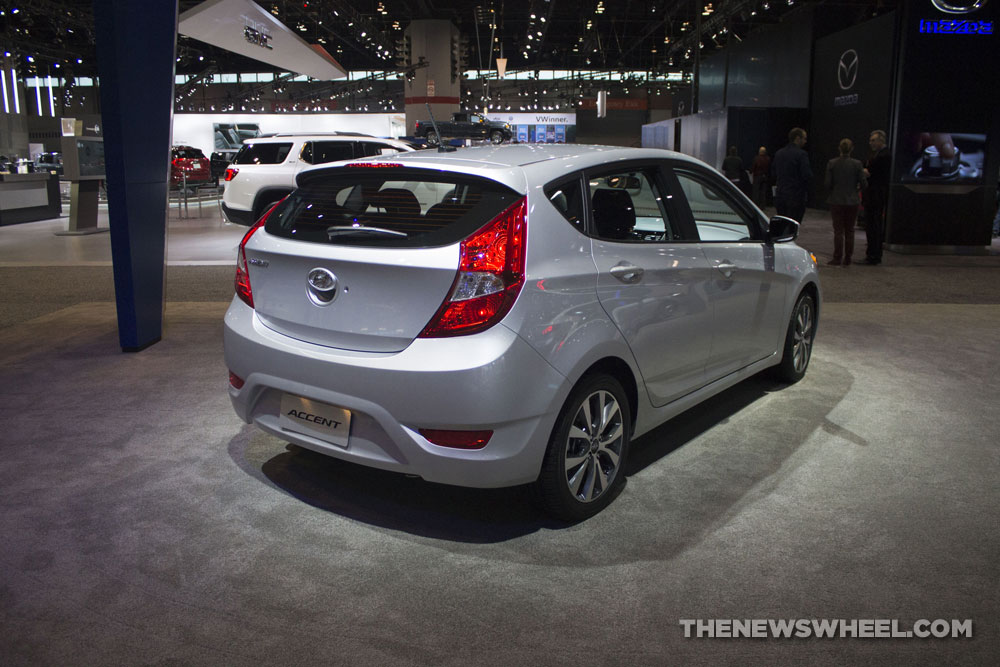 2017 Hyundai Accent Silver hatchback compact car at Chicago Auto Show
