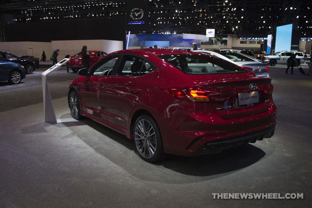 2017 Hyundai Elantra Sport red sedan at Chicago Auto Show