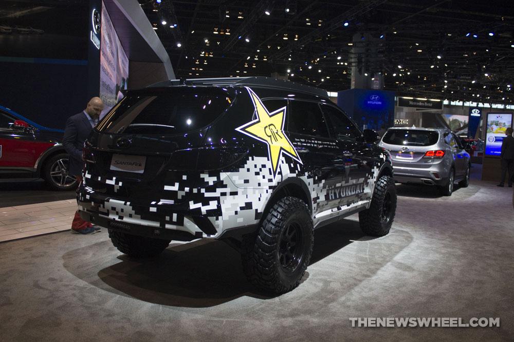 2017 Hyundai Santa Fe Rockstar Concept SUV black custom design at Chicago Auto Show