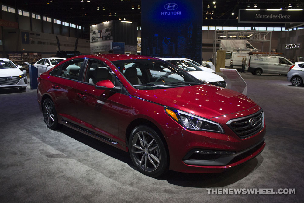 2017 hyundai sonata sport 2 0t red sedan car on display chicago auto show the news wheel. Black Bedroom Furniture Sets. Home Design Ideas