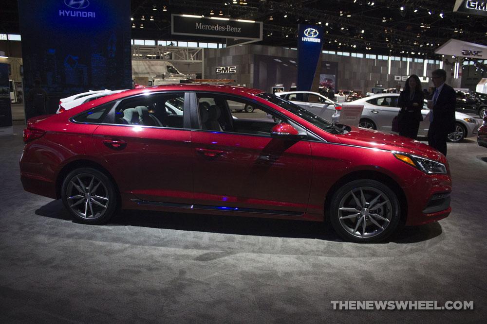 2017 Hyundai Sonata Sport 2.0T red sedan car on display Chicago Auto Show