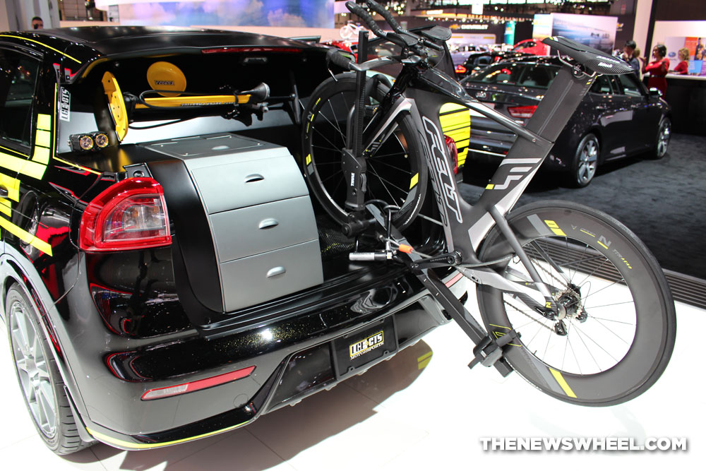 2017 Kia Niro Triathlon black SUV on display Chicago Auto Show