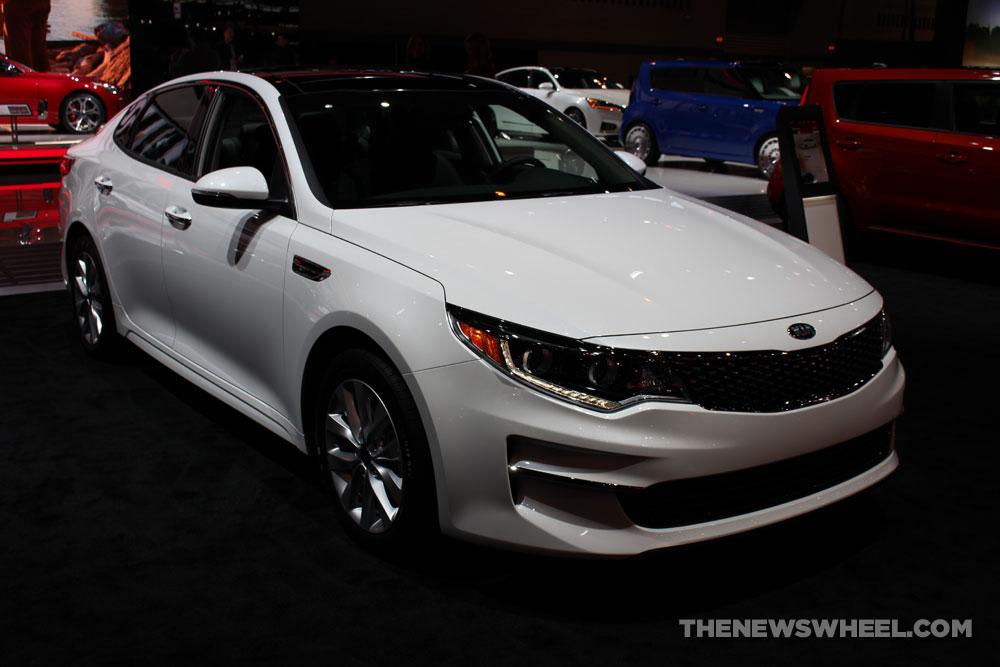 2017 Kia Optima white sedan car on display Chicago Auto Show