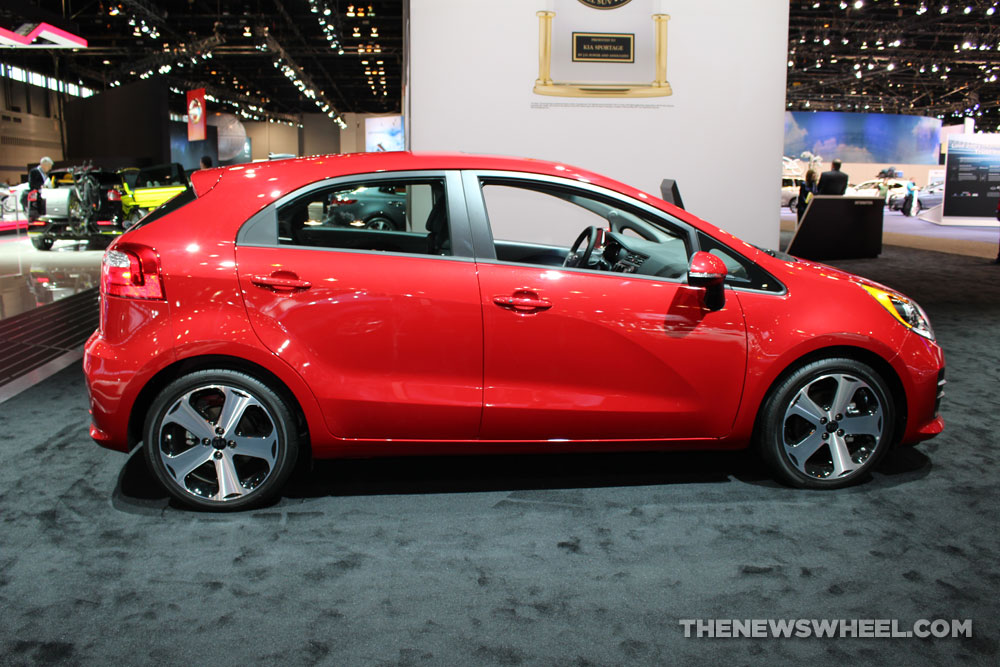 2017 Kia Rio red hatchback on display Chicago Auto Show