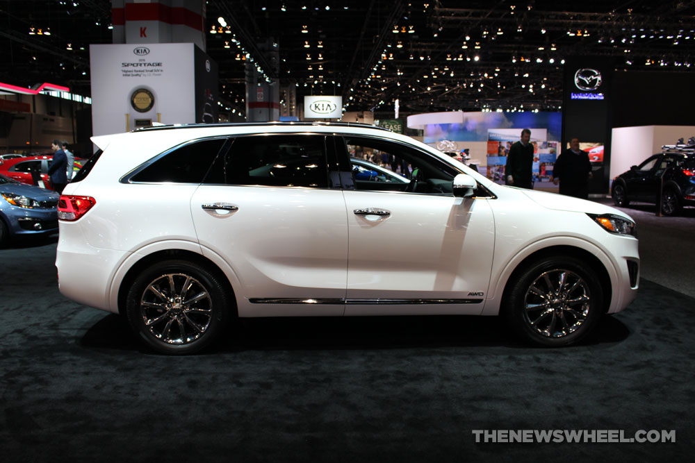 2017 Kia Sorento white SUV on display Chicago Auto Show