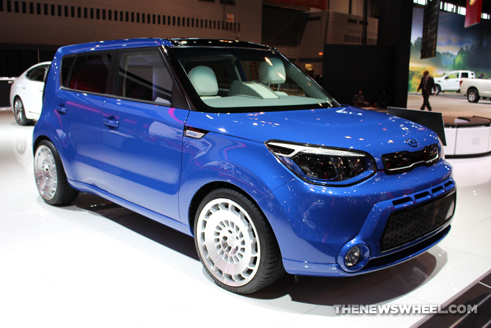 2017 Kia Soul First Class blue sedan car on display Chicago Auto Show