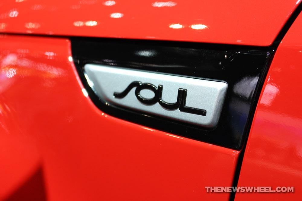 2017 Kia Soul red sedan car on display Chicago Auto Show