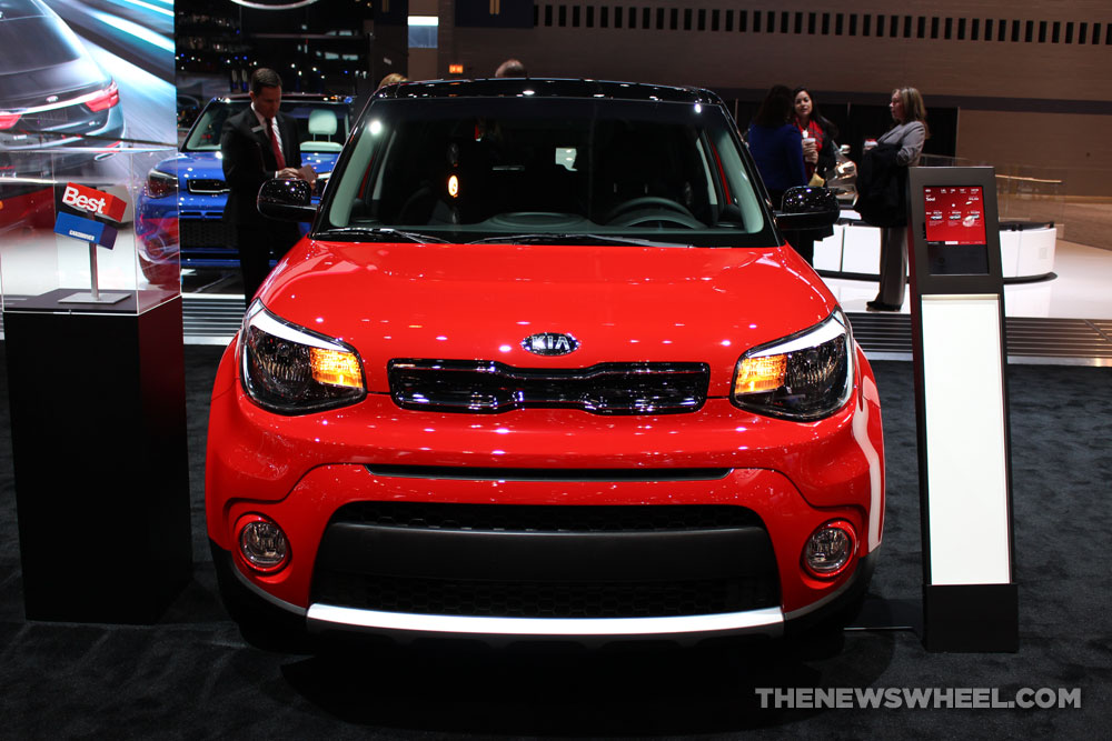 2017 Kia Soul red sedan car on display Chicago Auto Show