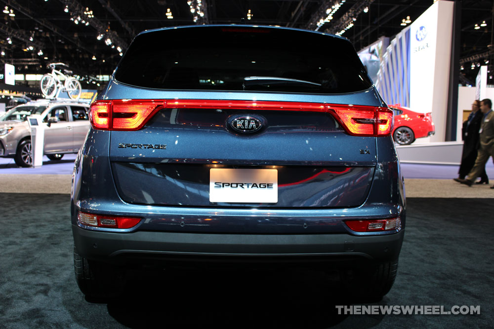 2017 Kia Sportage blue SUV on display Chicago Auto Show