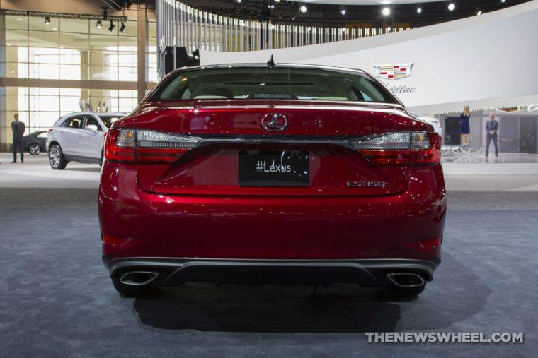 2017 Lexus ES 300 red sedan car on display Chicago Auto Show