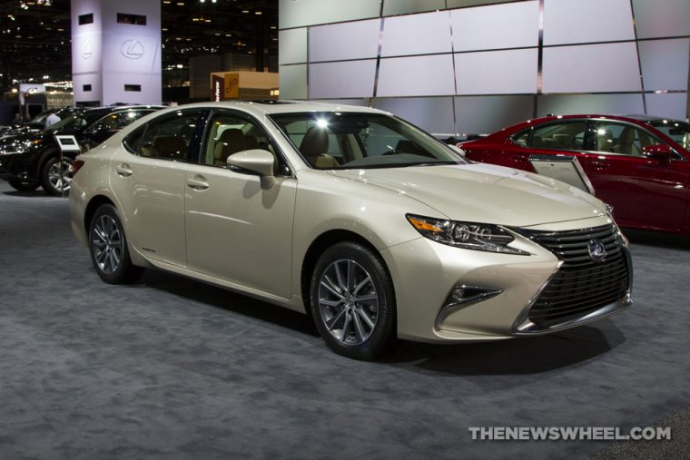 2017 Lexus ES 300h gold sedan car on display Chicago Auto Show