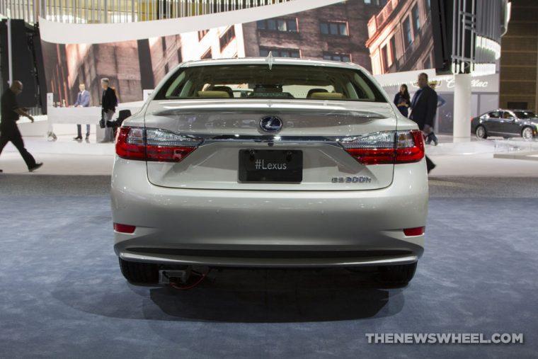 2017 Lexus ES 300h gold sedan car on display Chicago Auto Show