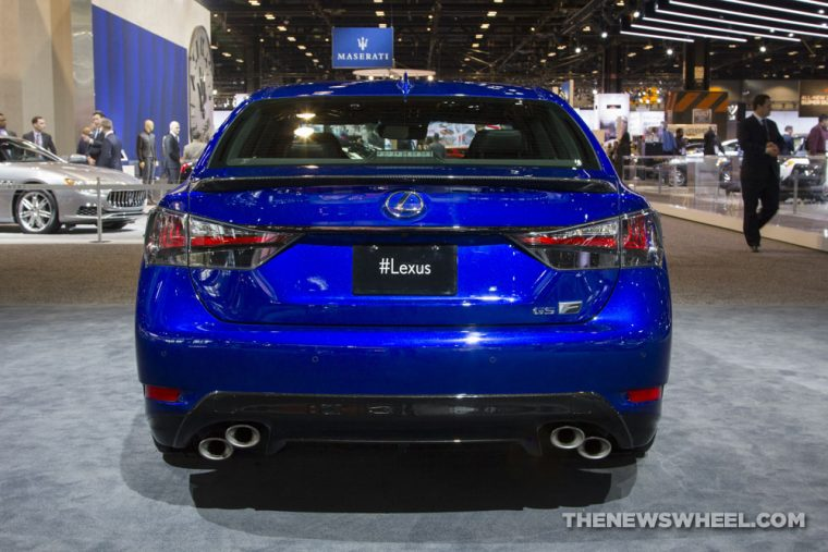 2017 Lexus GS F blue sedan car on display Chicago Auto Show