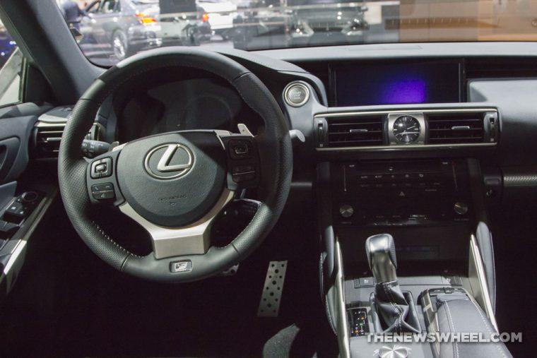 2017 Lexus IS 350 F Sport silver sedan car on display Chicago Auto Show