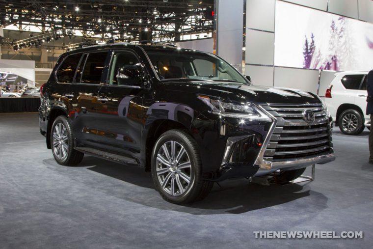 2017 Lexus LX black SUV on display Chicago Auto Show