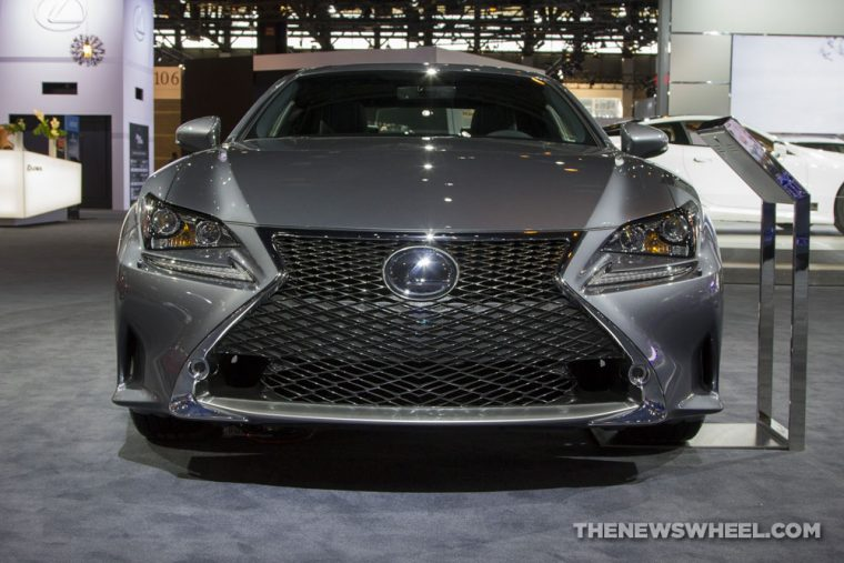 2017 Lexus RC 350 F Sport silver coupe car on display Chicago Auto Show