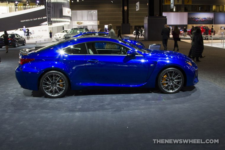 2017 Lexus RC F Sport blue coupe car on display Chicago Auto Show