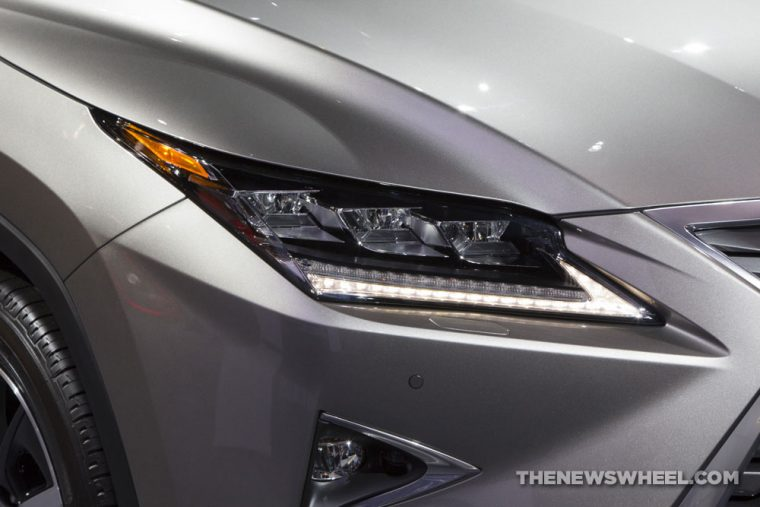 2017 Lexus RX 350 silver SUV on display Chicago Auto Show