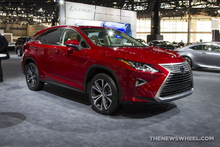2017 Lexus RX 450h red SUV on display Chicago Auto Show