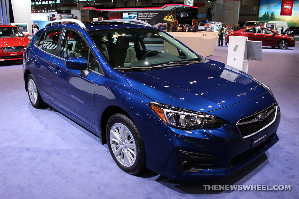 2017 Subaru Impreza 2.0i Premium blue hatchback car on display Chicago Auto Show