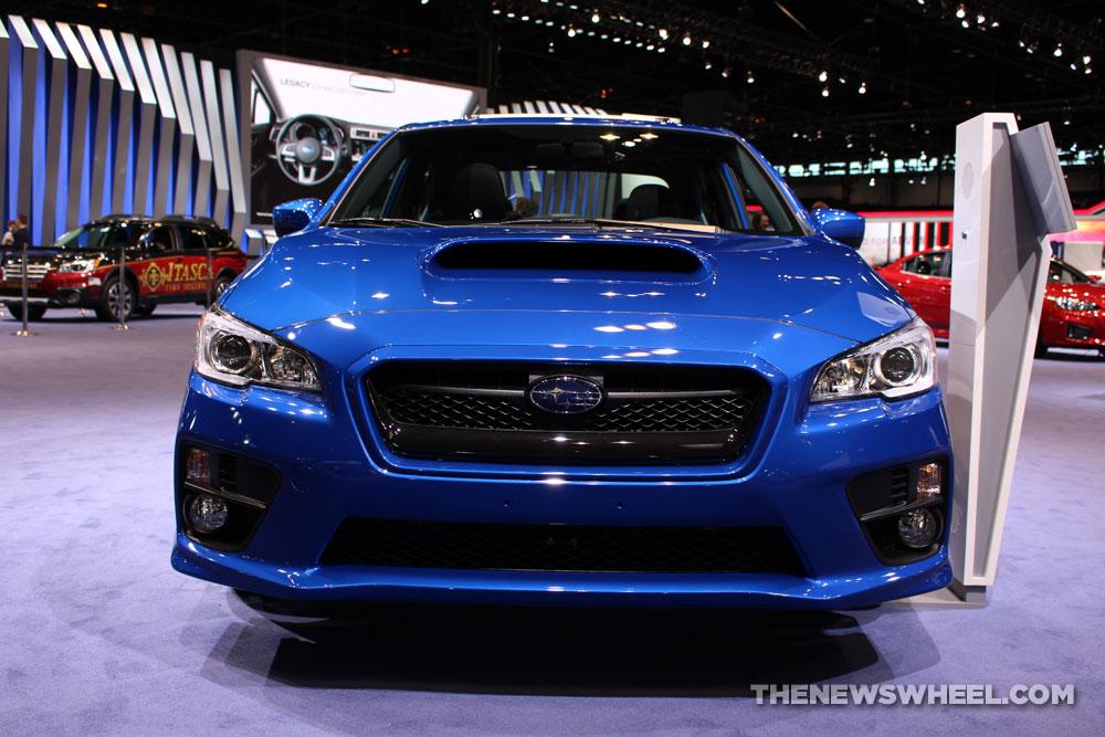 2017 Subaru WRX Limited blue sedan car on display Chicago Auto Show