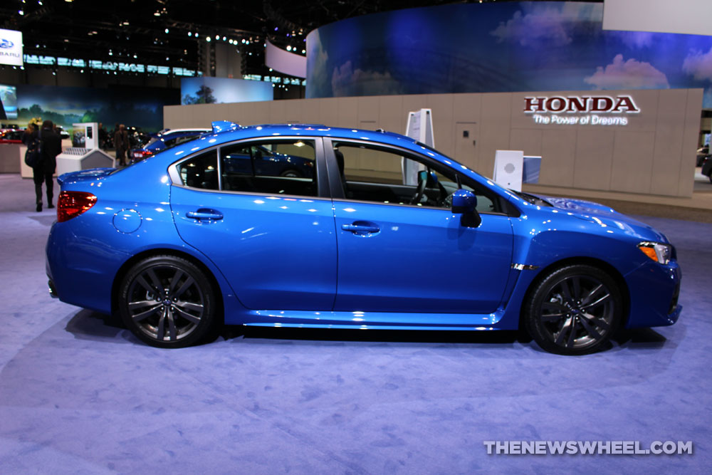 2017 Subaru WRX Limited blue sedan car on display Chicago Auto Show