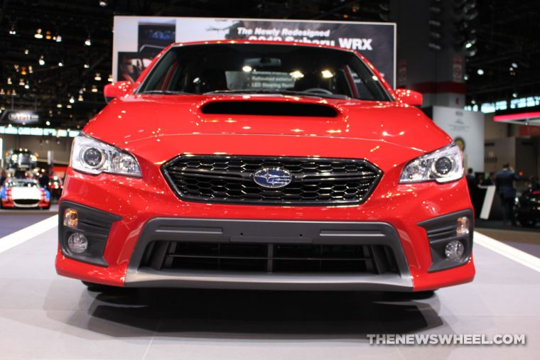 2017 Subaru WRX red sedan car on display Chicago Auto Show