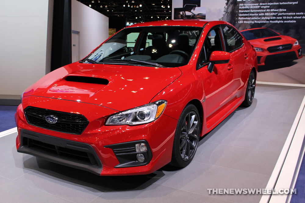 2017 Subaru WRX red sedan car on display Chicago Auto Show