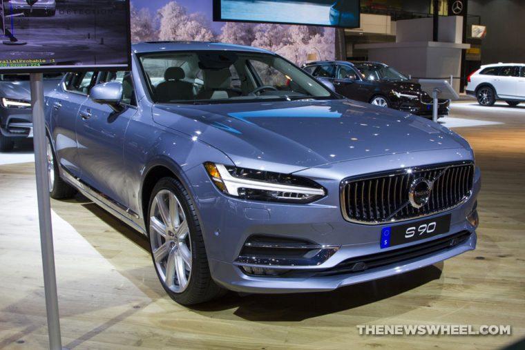 2017 Volvo S90 blue sedan car on display Chicago Auto Show