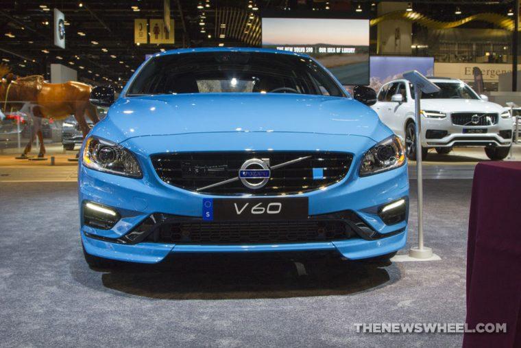 2017 Volvo V60 blue hatchback car on display Chicago Auto Show