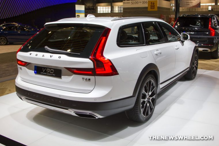 2017 Volvo V90 white wagon car on display Chicago Auto Show