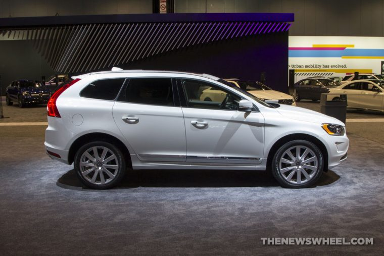 2017 Volvo XC60 white SUV on display Chicago Auto Show