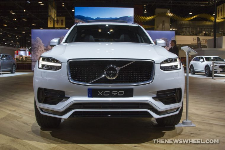 2017 Volvo XC90 white SUV on display Chicago Auto Show