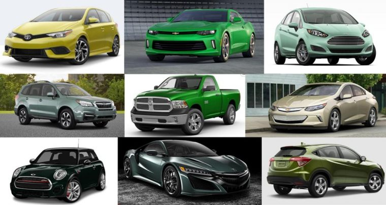 2017 green car colors vehicle models in green