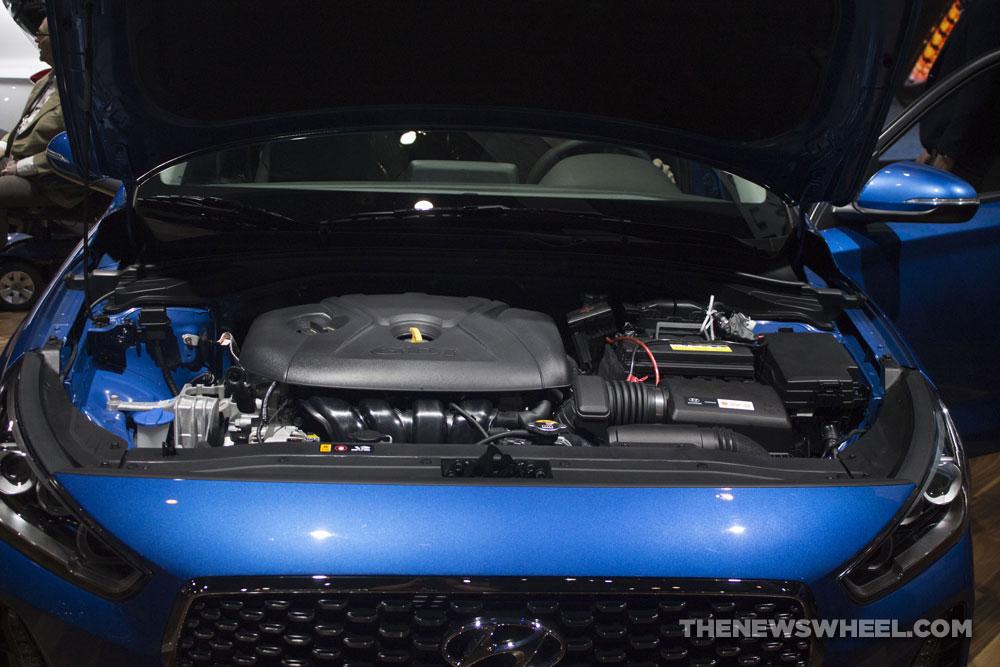 2018 Hyundai Elantra GT blue car reveal Chicago Auto Show engine