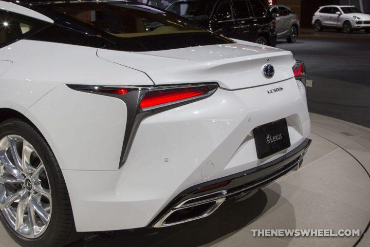 2018 Lexus LC 500h white sedan car on display Chicago Auto Show