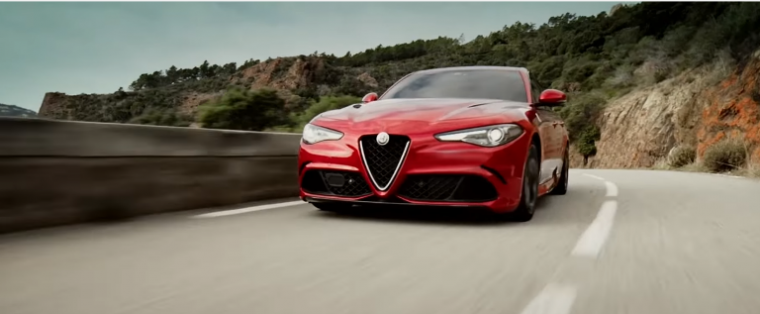 The 2017 Alfa Romeo Giulia on the move