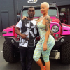 Celebrity model Amber Rose's Jeep Wrangler has gone from bubble gum pink to chrome pink to army green