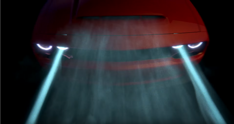 The Dodge Demon's hood scoop in action