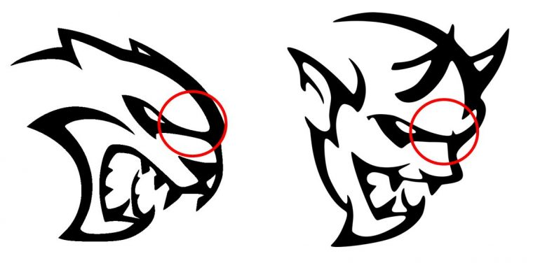 Dodge Hellcat Demon logo design similarities Brows