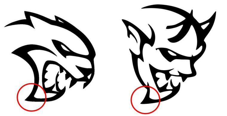 Dodge Hellcat Demon logo design similarities Chins