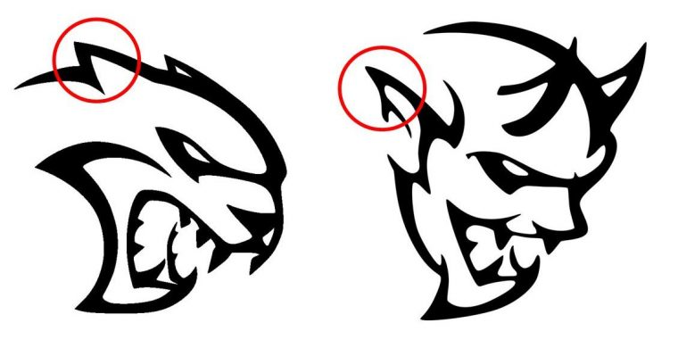Dodge Hellcat Demon logo design similarities Ears