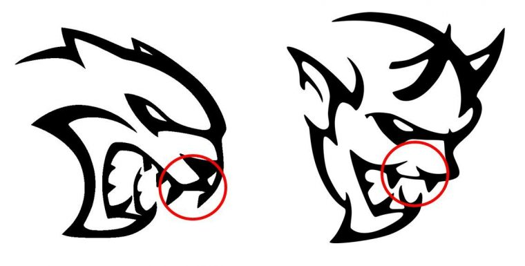 Dodge Hellcat Demon logo design similarities Fangs